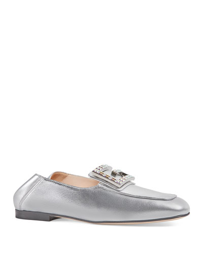 Madelyn Metallic Crystal Loafers