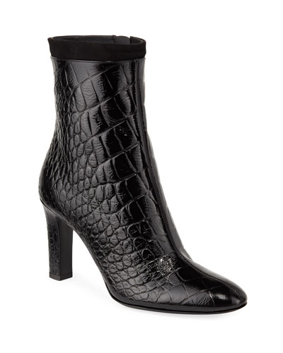 Crocodile-Embossed Zip Booties