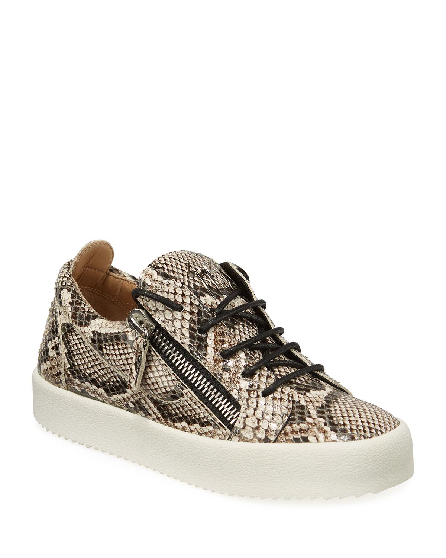 Giuseppe Zanotti Sneakers DOUBLE ZIP SNAKE-EMBOSSED LOW-TOP SNEAKERS