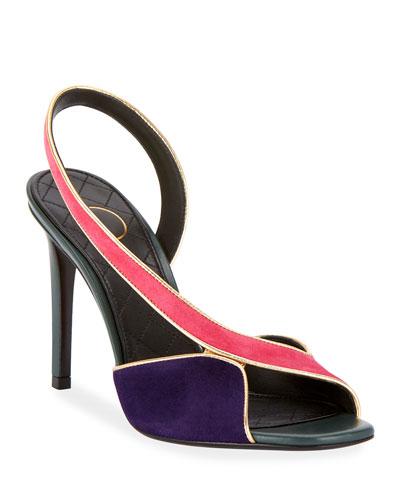 Macy Two-Tone Slingback Sandals
