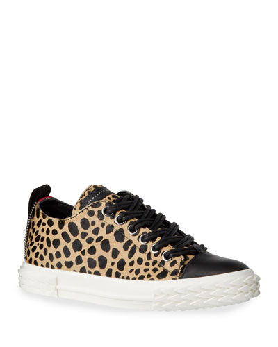 Leopard-Print Fur Flat Sneakers