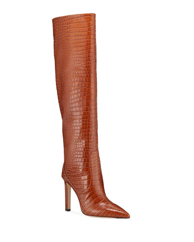 100mm Mavis Croc-Embossed Leather Knee Boots
