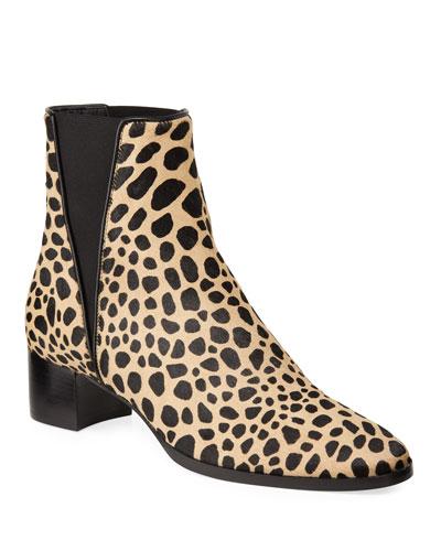 Leopard Gored Chelsea Booties
