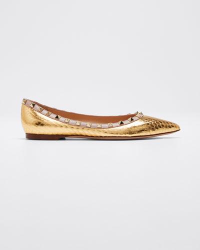 Rockstud Metallic Snakeskin Ballet Flats