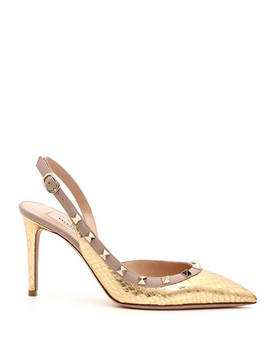 Rockstud Metallic Snakeskin Pumps
