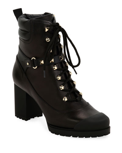 Rockstud Lug-Sole Laced Booties