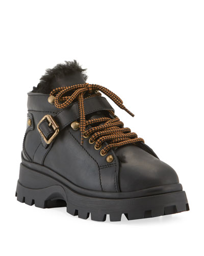 Lug-Sole Hiker Booties with Fur Lining