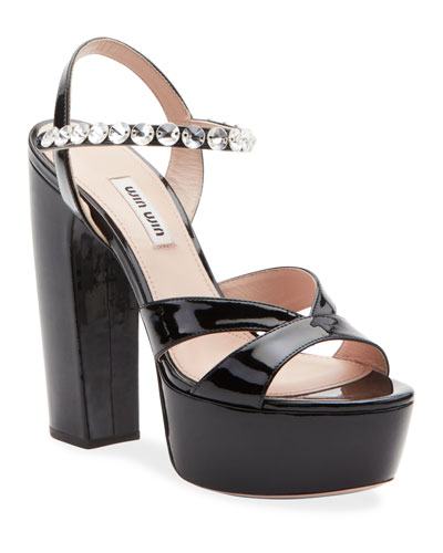 Patent Crystal-Strap Platform Sandals