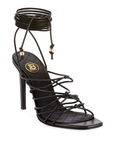 Mikki Leather Strappy Wrap Sandals