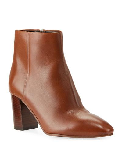 Florita Leather Zip Booties