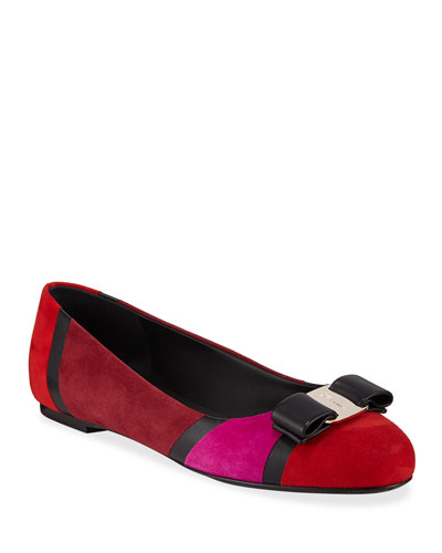 Varina Colorblock Suede Bow Flats