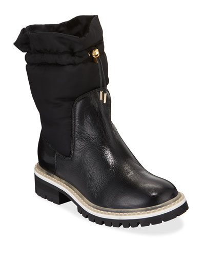 Bao Nylon and Leather Booties