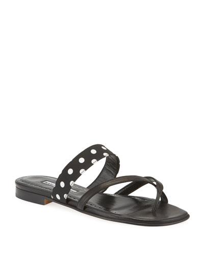 Srila Polka Dot Flat Slide Sandals