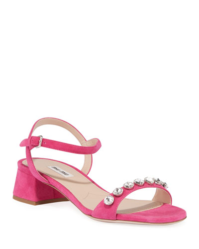 Suede Ankle-Strap Sandals with Crystals