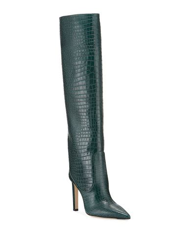 Mavis 100mm Croc-Embossed Leather Knee Boots