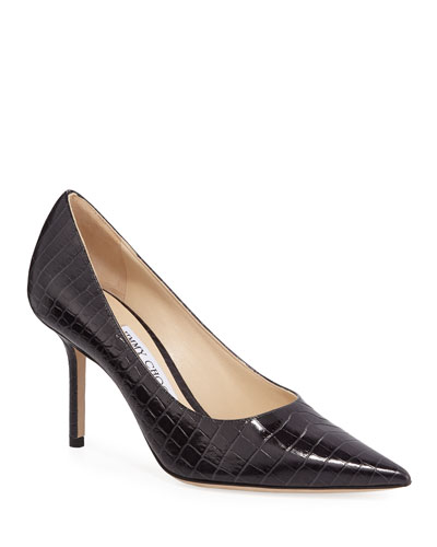 Love Croc-Embossed Leather Pumps