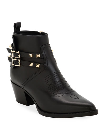 Rockstud Western Leather Booties