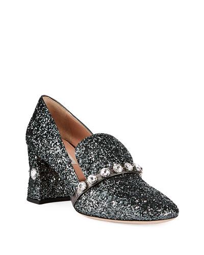 Crystal Glitter Block-Heel Loafers