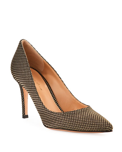Woven Metallic Pointed Pumps