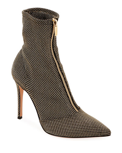 Woven Metallic Zip Booties