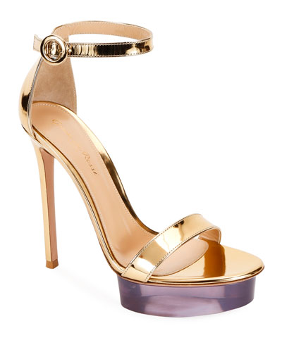 Metallic Metal Rubber Platform Sandals