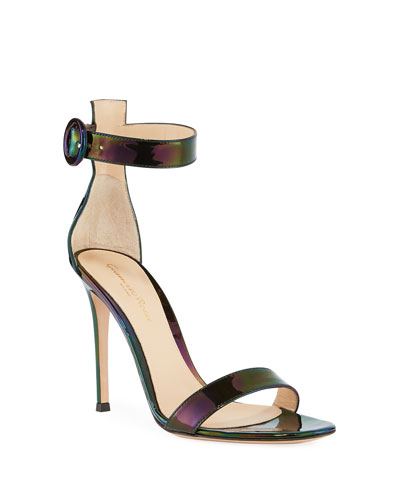 Portofino Oil-Slick Patent 105mm Ankle-Strap Sandals