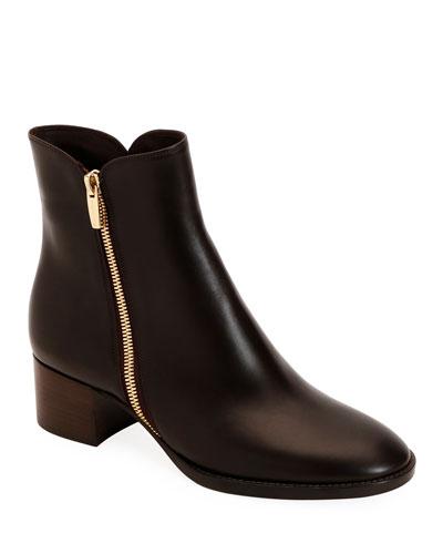 Low-Heel Smooth Leather Zip Booties