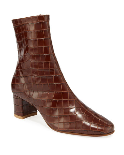 Sofia Croc-Embossed Leather Booties