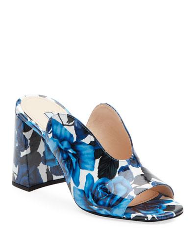 Floral Calf Slide Mules