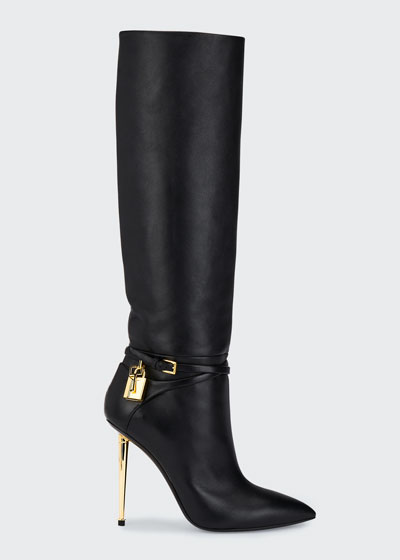 Leather Knee Boots with Padlock