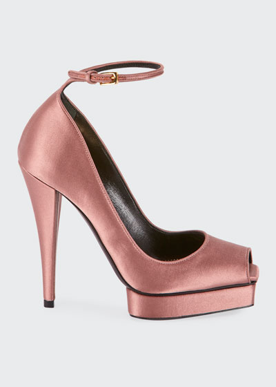 Peep-Toe Platform Ankle-Wrap Pumps, Pink