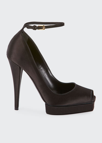 Peep-Toe Platform Ankle-Wrap Pumps, Black