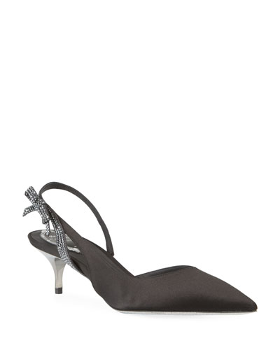 Satin Strass Slingback Pumps