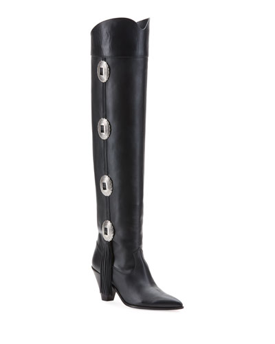 Go West Concho Fringe Knee Boots