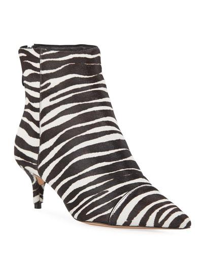 New Kitten-Heel Zebra Calf Hair Booties