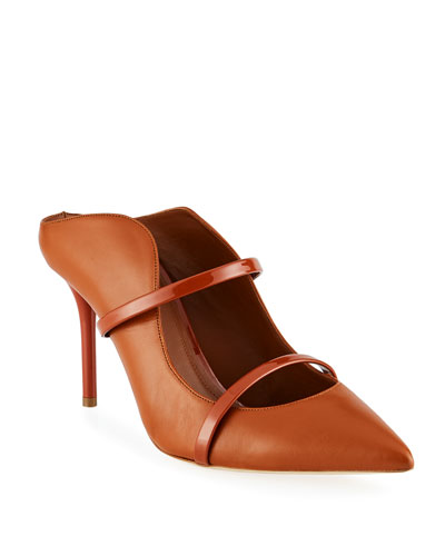 Maureen 85mm Two-Strap Napa Mules