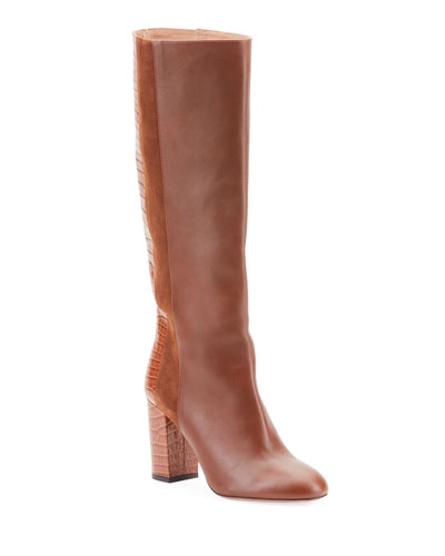 Eaton Mixed Leather Knee Boots