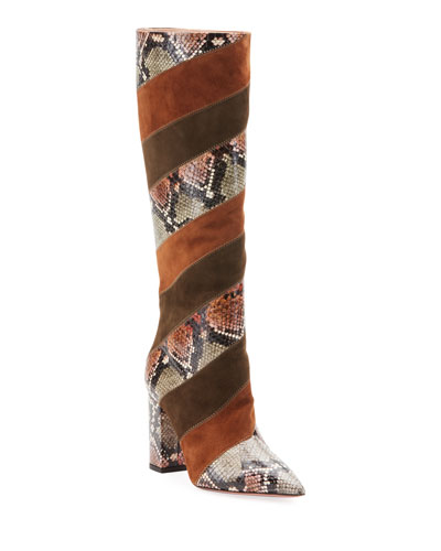 Boetti Patchwork Snakeskin Knee Boots
