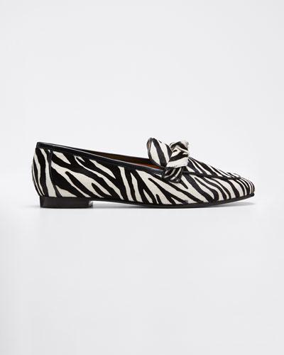 Becky Zebra-Print Fur Loafers