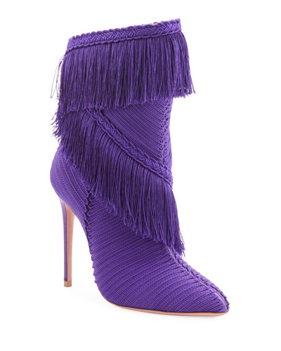 Soutage Tassel Pointed Booties, Purple