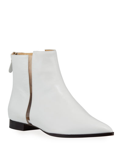 Dora Leather Booties with Transparent Striping, White