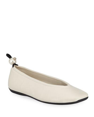 Delfi Leather Ballerina Flats