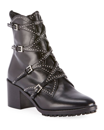Studded Wrap Buckle Booties