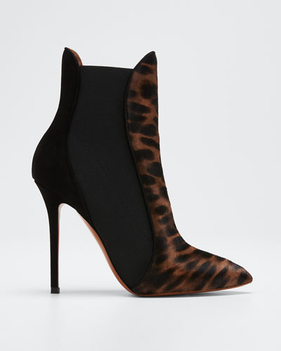 Leopard Pony Hair Gored Booties