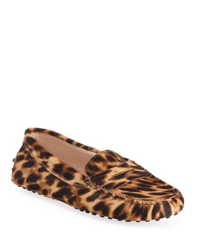 Leopard-Print Gommini Flat Penny Loafers