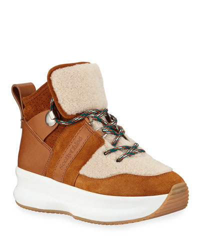 Shearling Suede Hiker Sneakers