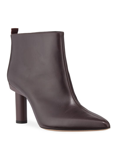 Theo Calfskin Pointed-Toe Ankle Booties