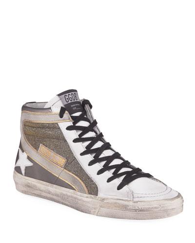 Metallic Slide High-Top Sneakers
