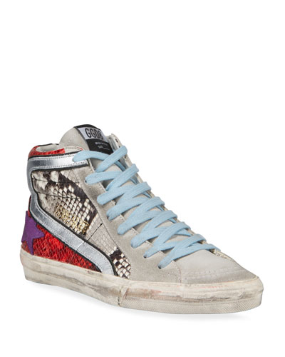 Mixed-Media Snake-Print High-Top Sneakers