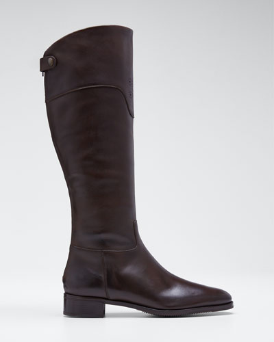 Perforated-Cuff Flat Leather Boots